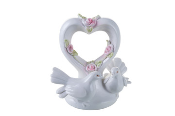 porcelain doves with heart