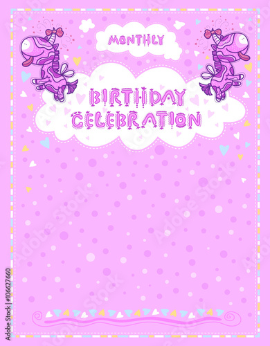 Celebration Letter For Birthdays Children Pink Background With Hearts And Dots Unicorns Bows On The Horns