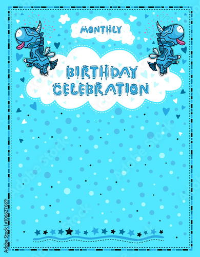Celebration Letter For Birthdays Children Blue Background With Unicorns Hearts And Dots