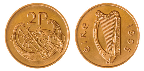 2 pence 1995 coin isolated on white background, Ireland