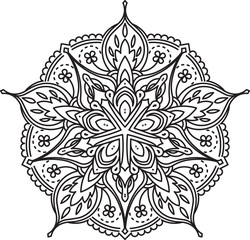 Abstract vector black lace design in mono line style - five-fing