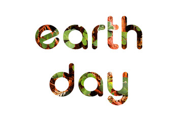 Earth Day text concept from leaves and needles.