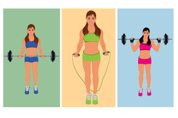 exercising fitness woman, vector illustration