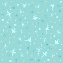 Vector pattern of butterfly, ballet dancers and flowers on blue background
