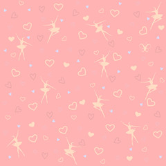 Vector pattern of ballet dancers and harts on pink background
