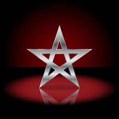 Silver pentagram symbol. Sign of the pentagram in the dark red background.