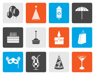 Flat Party and holidays icons - vector icon set