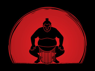 Sumo silhouette, designed on sunset background graphic vector.