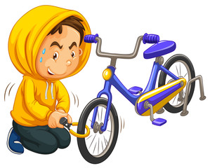 Boy in yellow hood stealing bicycle