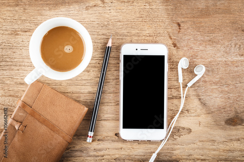 Mobile Phone On Wood Table Background Clipping Path Inside Stock