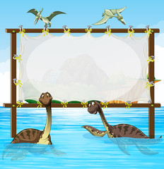 Frame design with dinosaurs in the sea