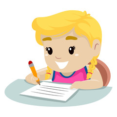 Vector Illustration of a Little Girl writing on a piece of paper