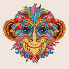 Tattoo design color head of the monkey.