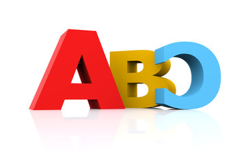 3d illustration featuring multicolored turned capital abc on white reflective surface
