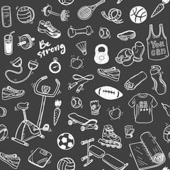 Seamless vector pattern  with hand drawn sport and healthy lifestyle elements