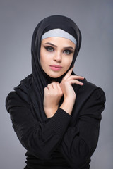 Woman in a Muslim headscarf hijab