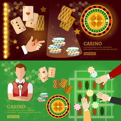 Casino banner design with slots and roulette poker game playing