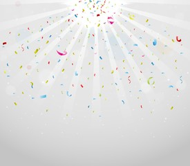 Colorful sparkling confetti on gray background