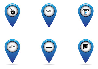 bank and finance tag set for map