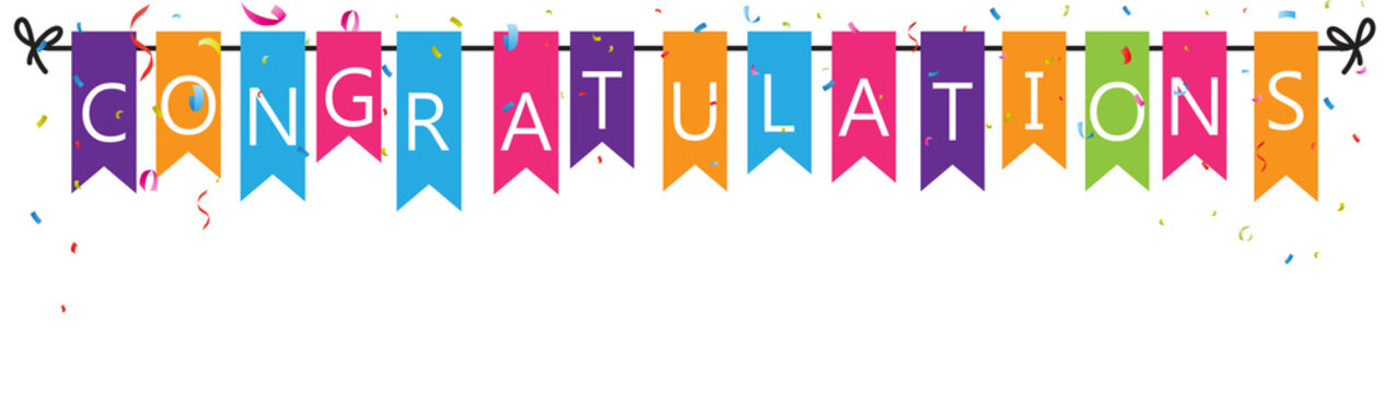 Congratulations with bunting flags