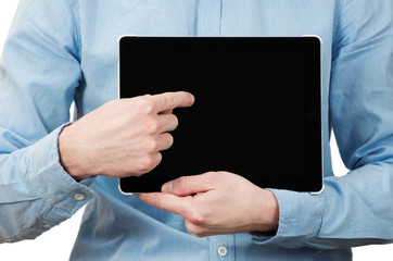 hands holding a tablet touch computer gadget with isolated scree
