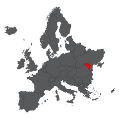 Moldova red map on gray Europe map vector