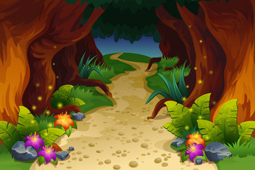Illustration of fairy forest Cartoon fairytale landscape