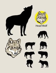 Wolf Silhouettes and Logo, art vector design