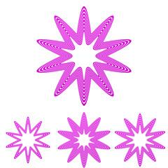 Magenta line star logo design set