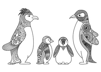 Penguins line art design for coloring book for adult, T shirt design, cards and so on