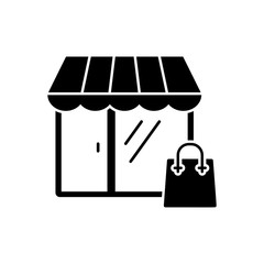 Shopping icon in flat style. Vector illustration. Vector symbol.