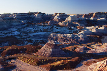 Multicolor rock formations in mountainous remote landscape, Petrified Forest National Park, Arizona, United States