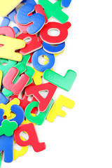 Magnetic plastic letters on white background