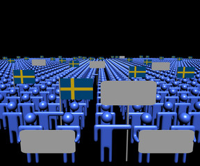 Crowd of people with signs and Swedish flags illustration