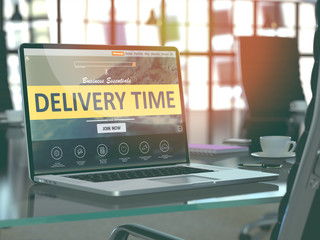 Delivery Services Concept - Closeup on Laptop Screen in Modern Office Workplace. Toned Image with Selective Focus. 3D Render.