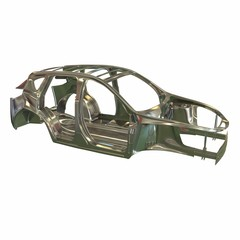 Car frame in steel. 3d illustration