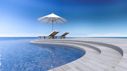 3d terrace sea view