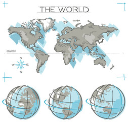 Search photos equator line hand drawn vector concept of planet earth globes and flat world map with sketched oceans gumiabroncs Image collections