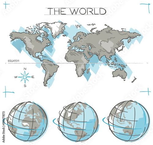 Hand drawn vector concept of planet earth globes and flat world map hand drawn vector concept of planet earth globes and flat world map with sketched oceans gumiabroncs Images