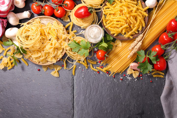 assorted raw pasta and ingredient