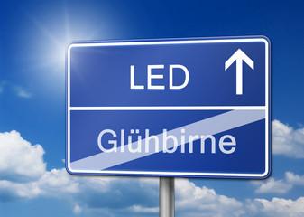 LED statt Glühbirne schild