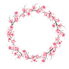Spring cherry sakura wreath. Original watercolor pattern.