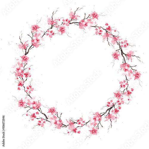 Wall mural Spring cherry sakura wreath. Original watercolor pattern.