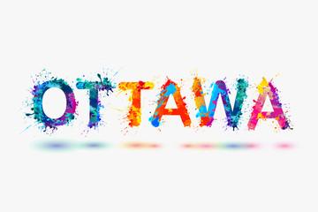 Ottawa city name. Rainbow splash paint