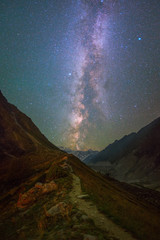 Milky Way and stars over mountains