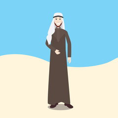 arabian men isolated with desert and sky background