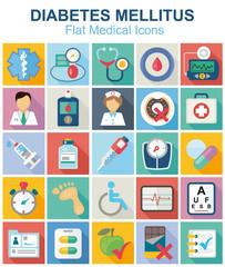 Diabetes flat medical color icon set