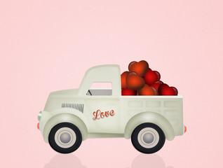 hearts on car