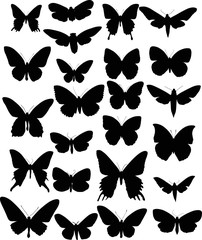 set of twenty four black butterfly wings shapes