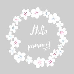 vintage vector frame with floral elements. summer flower and leaf elements. summer wreath